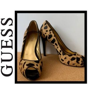 GUESS Peep Toe Cheetah Print Heels